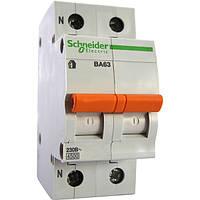 Автоматический выключатель 2 полюса ВА63 1п+н 16A  C Shneider