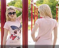 Женская футболка  с Рисунком-бабочки