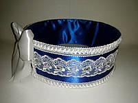 """Сито свадебное для зерна """"Бант сине-белый с кружевом"""", фото 3"""