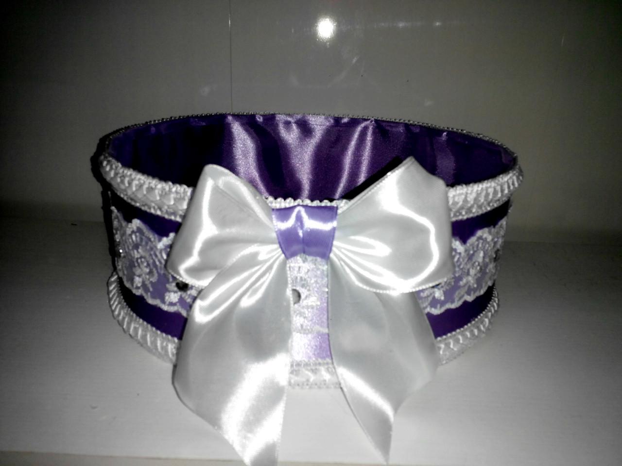 """Сито свадебное для зерна """"Бант фиолетово-белый с кружевом"""""""