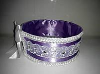 """Сито свадебное для зерна """"Бант фиолетово-белый с кружевом"""", фото 2"""