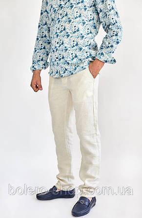 Мужские брюки Large Ride 100% лен  летние бежевые , фото 2