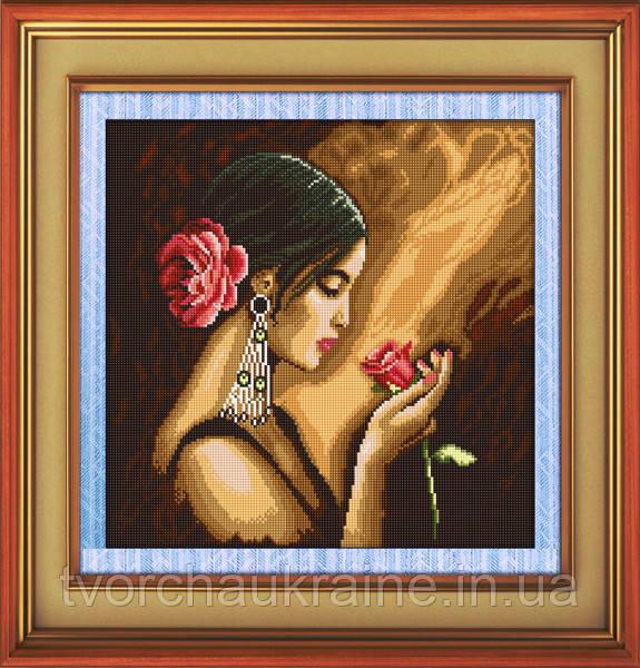 """Набор для рисования камнями (холст) """"Испанка с цветком"""" LasKo"""