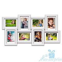 Фоторамка из дерева Классическая на 8 фотографий 10х15, обычное стекло (белый)