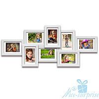 Деревянная мультирамка Виолетта на 8 фотографий 10х15, обычное стекло (белый)