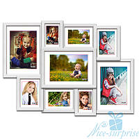 Деревянная мультирамка Ева на 9 фотографий, обычное стекло (белый)