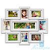 Деревянная мультирамка Виктория на 9 фотографий, обычное стекло (белый)