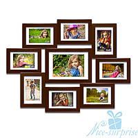 Мультирамка из дерева Ангелина на 9 фотографий, обычное стекло (коричневый)