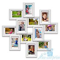 Деревянная мультирамка Изумруд на 12 фотографий 10х15, обычное стекло (белый)