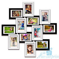 Фоторамка из дерева Изумруд на 12 фотографий 10х15, антибликовое стекло стекло (чёрно-белый)
