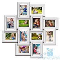 Фоторамка из дерева Нэйла на 12 фотографий 10х15, антибликовое стекло (белый)