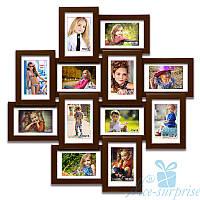 Фоторамка из дерева Нэйла на 12 фотографий 10х15, антибликовое стекло стекло (коричневый)