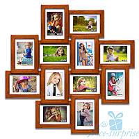 Фоторамка из дерева Нэйла на 12 фотографий 10х15, обычное стекло (палисандр)