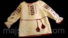"""Вишиванка """"Трояндочка"""" вишита дитяча блуза, для дівчиники на молочному гебардині, машинна вишивка"""