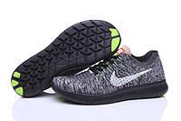 Кроссовки Nike Free Run Flyknit Dark Grey Black, фото 1