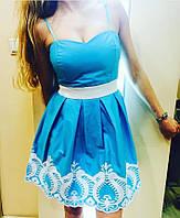 Женское нарядное вечернее платье сарафан белый итальянский на лето