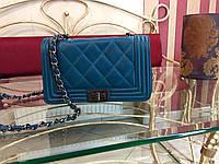 Женская сумка шанель стеганная твердая на цепочке кожаная