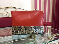 Женская сумка папка клатч красная кожаная змеиная кожа итальянская