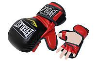 Перчатки для смешанных единоборств MMA PU ELAST BO-4612-BKR (р-р M-XL, черный-красный)