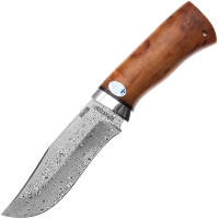 Нож А&Р Клычок-3, дамасская сталь, рукоять карел. береза (длина:26.0см, лезвие:13.5см), ножны кожа