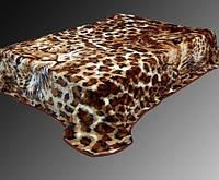 Леопардовый плед на кровать  (размер евро)