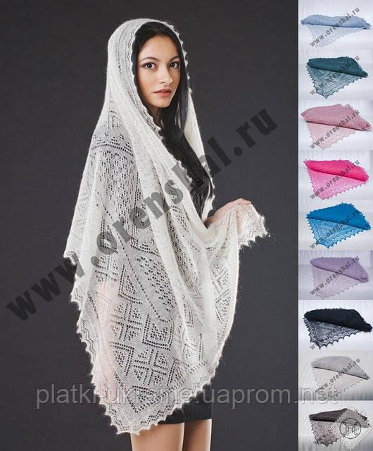Оренбургский пуховый палантин(шарф) паутинка 160х70см. Белый и черный.