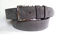 Замшевый ремень 45 мм серый(пепельный) пряжка классическая квадратная