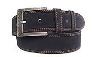 Замшевый ремень 45 мм черный с коричневой ниткой пряжка серая с коричневым оттенком текстурированая