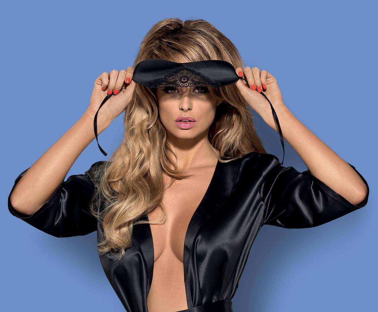 Черная атласная маска с кружевом Satinia mask Obsessive