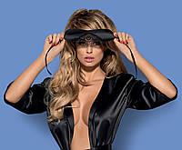 Черная атласная маска с кружевом Satinia mask Obsessive , фото 1