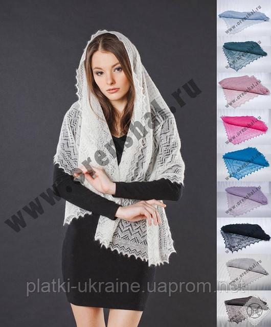 Оренбургский пуховый палантин(шарф) паутинка 140х60см. Белый, черный, серый.