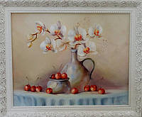 «Ветка орхидеи: вишневый натюрморт» картина маслом
