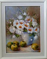 «Белый букет и яблоки»  картина маслом