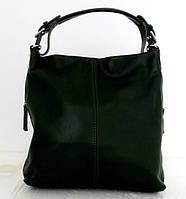 Стильная женская сумка - мешок. 100% натуральная кожа. Зелёная