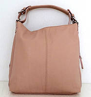 Стильная женская сумка - мешок. 100% натуральная кожа. Бежевая