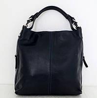 Стильная женская сумка - мешок. 100% натуральная кожа. Синяя