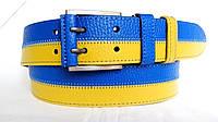 Кожаный ремень 45 мм жёлтой-голубой с коричневыми краями прошитый коричневой ниткой пряжка с кожаной вставкой