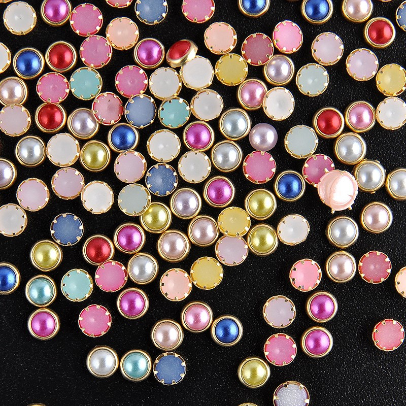 Стразы в оправе для дизайна ногтей, разноцветные, 50 шт,4 мм