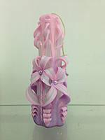 Свеча резная большая SRL-13 (Цвет фиолетовый с розовым)