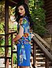 Летний костюм-двойка. Платье с шифоновой накидкой Эльза синий, фото 2