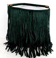 Замшевая женская сумка - мешок с бахромой. 100% натуральная кожа. Зеленая