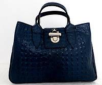 Вместительная женская сумка 100% натуральная кожа. Синий