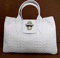 Вместительная женская сумка 100% натуральная кожа. Белый