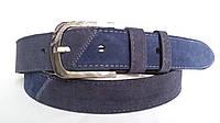 Замшевый ремень 40 мм комбинированый синий/серый пряжка классическая овальная текстурированая