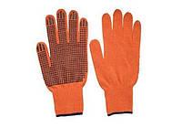 Перчатки покрытые точками ПВХ, оранжевые