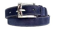 Замшевый ремень 40 мм синего цвета с белой строчкой пряжка хромированная классическая квадратная