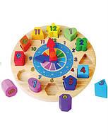"""Пазл Viga Toys """"Часы"""" , сортер, деревянные пазлы, деревянные часы"""