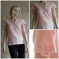 Тенниска женская нежно-розового цвета с пуговицами