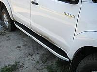 """Боковые пороги """"Allyans"""" Toyota Hilux 2015-"""