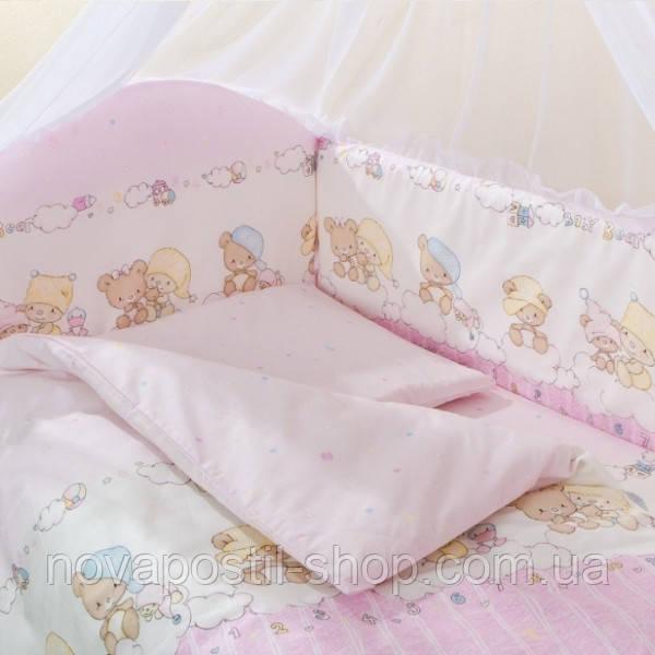 Набор в детскую кроватку Малыш Lux шапочки розовый  (6 предметов)
